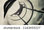 woman flying in a wind tunnel.... | Shutterstock . vector #1163435227