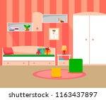 modern room for girls in pink...   Shutterstock .eps vector #1163437897