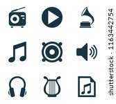 multimedia icons set with... | Shutterstock . vector #1163442754