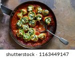 courgette stuffed with ricotta  ... | Shutterstock . vector #1163449147