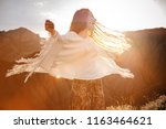beautiful hippie young... | Shutterstock . vector #1163464621