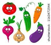 funny vegetable emoticon.... | Shutterstock .eps vector #1163472544