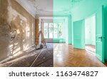 apartment room before and after ... | Shutterstock . vector #1163474827