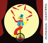 Funny Clown Juggling Performs....