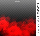 red fog or smoke color isolated ... | Shutterstock .eps vector #1163484394