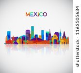 mexico skyline silhouette in... | Shutterstock .eps vector #1163505634