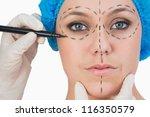 plastic surgeon drawing on... | Shutterstock . vector #116350579