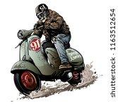 skull bikers riding vintage... | Shutterstock .eps vector #1163512654