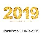 2019 gold glitter texture type. ...   Shutterstock .eps vector #1163565844
