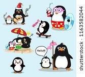 penguin cartoon vector | Shutterstock .eps vector #1163582044