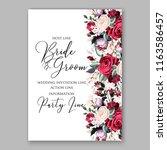 Stock vector wedding invitation marsala peony rose ranunculus greenery vector illustration dinner invitation 1163586457