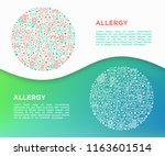 allergy concept in circle with... | Shutterstock .eps vector #1163601514