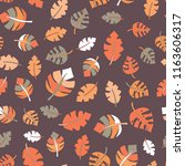 Fall leaves seamless vector pattern. Orange, white, and gray hand drawn autumn leaves on purple background. Foilage backdrop. Great for fabric, paper, Thanksgiving, web banner, kids decor, invite