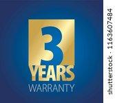 3 years warranty gold blue logo ... | Shutterstock .eps vector #1163607484