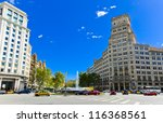 In the streets of Barcelona, Eixample district. Spain. - stock photo