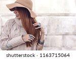 boho jewelry on model  ethnic... | Shutterstock . vector #1163715064