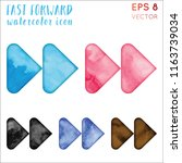fast forward watercolor icon... | Shutterstock .eps vector #1163739034