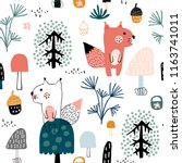seamless childish pattern with... | Shutterstock .eps vector #1163741011