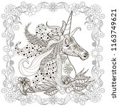 monochrome zentangle style... | Shutterstock .eps vector #1163749621