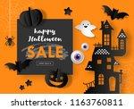 halloween sale banner design... | Shutterstock .eps vector #1163760811
