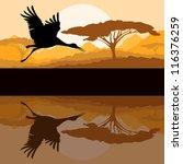 Crane flying in wild mountain nature landscape background illustration vector - stock vector
