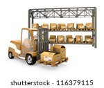 forklift with boxes  shelves...   Shutterstock . vector #116379115