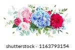 light blue hydrangea  pink  red ... | Shutterstock .eps vector #1163793154