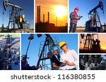 Workers in an Oilfield, split screen, best focus on businesswoman - stock photo