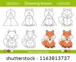 drawing lesson for children.... | Shutterstock .eps vector #1163813737