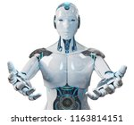 White Male Cyborg Opening His...