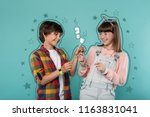 favorite sweets. excited kids... | Shutterstock . vector #1163831041