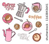 coffee. coffee pot and cups....   Shutterstock .eps vector #1163843641