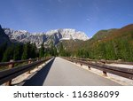 Alps mountains at moonlight niht scene with stars - stock photo