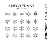 set line icons of snowflake | Shutterstock .eps vector #1163872474