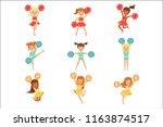 primary school little girls in... | Shutterstock .eps vector #1163874517