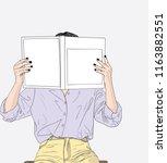 fashion illustration of girl... | Shutterstock .eps vector #1163882551