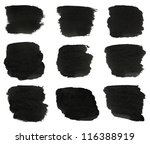 set of black watercolor hand... | Shutterstock . vector #116388919