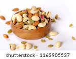 Assorted Nuts On White  Dry...