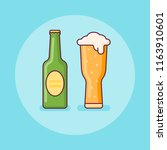 beer bottle and glass flat line ... | Shutterstock .eps vector #1163910601
