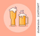 two glasses of beer flat line... | Shutterstock .eps vector #1163910697
