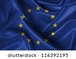 Realistic Wavy Flag Of Europea...
