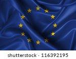 Realistic Wavy Flag Of Europea...