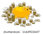 piggy bank with cent coins... | Shutterstock .eps vector #1163922637