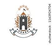 ancient castle emblem. heraldic ... | Shutterstock .eps vector #1163924704
