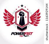 strong fist of an active... | Shutterstock .eps vector #1163929144