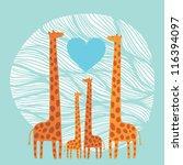 giraffe family   Shutterstock .eps vector #116394097