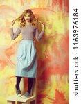 pretty girl or beautiful woman... | Shutterstock . vector #1163976184