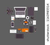 set of accessories on the... | Shutterstock .eps vector #1163985514