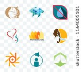 set of 9 transparent icons such ... | Shutterstock .eps vector #1164005101