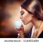 Coffee. Beautiful Girl Drinking ...